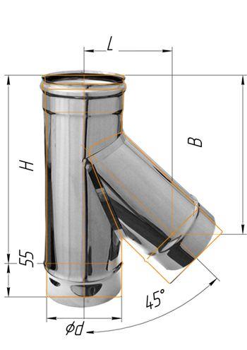 Тройник нерж. сталь 0.5мм d - 130 45º купить в Белгороде