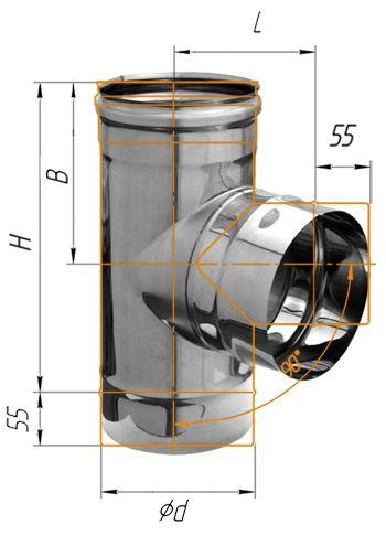 Тройник нерж. сталь 0.5мм d - 135 90º купить в Белгороде