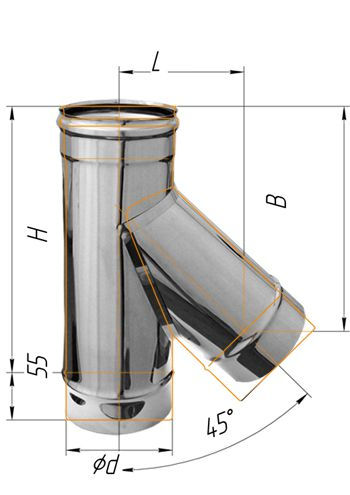 Тройник нерж. сталь 0.5мм d - 160 45º купить в Белгороде